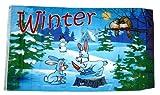 Fahne/Flagge Winter Hasen 90 x 150 cm