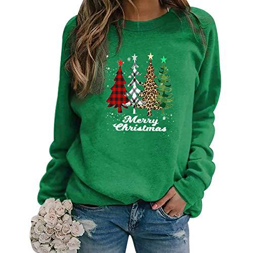 Sudadera Navidad Mujer Jersey Arbol Navideño Feo Sudaderas Navideñas Mujer Divertido Pullover Navidad Ugly Jerseys Navideños Adolescente Chica Sudadera Navideña Talla Grande Sueter Navideño Verde L