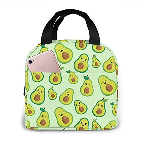 Jsragt Emoji Avocado Lunch Box Portable Meal Bag Reusable Insulated Cooler Lunch Bags
