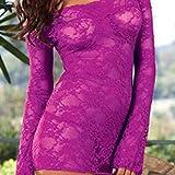 Erotische Kostüme für Damen Unterwäsche & Dessous für Damen Sexy Dessous sexy Langarm Rose Pyjamas Schiere Spitze Nachthemd weiß one Size