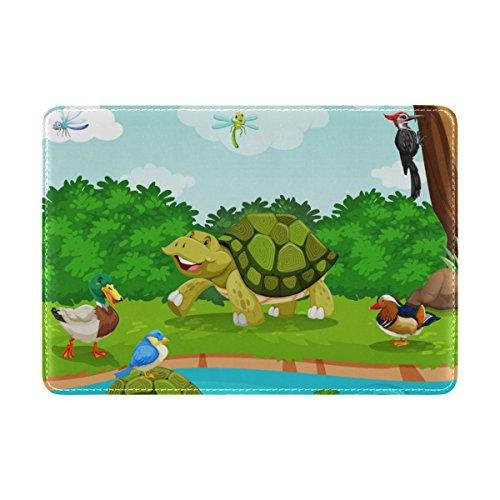 My Daily Schutzhülle für Reisepass, Motiv: Schildkröte, Ente, Baum, Fluss, Cartoon, Leder