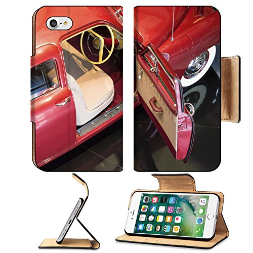 MSD Premium Apple iPhone 7 Flip Pu Leather Wallet Case Red Vintage Car taken from unusual perspective IMAGE 21611611