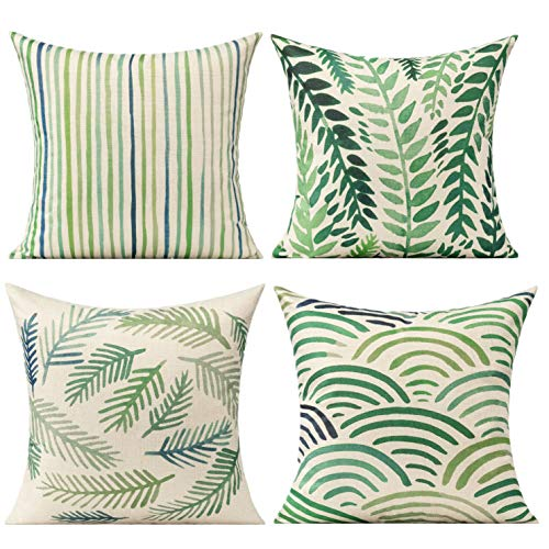 All Smiles Green Leaves Outdoor Cushion Covers Summer Plant Throw Pillow '18 x 18' Cases Decorative Tropical Rainforest Palm Spring Leaf Pillows Square Cotton Linen Set of 4 for Sofa Patio Couch