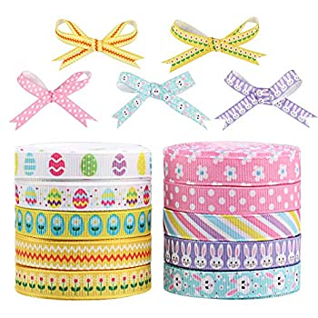 10 Rolls Easter Grosgrain Ribbons Egg Bunny Flower Ribbon Easter Themed Craft Ribbons for Gift Wrapping Easter Day Spring Home Decor DIY Crafts  3/8″ 50 Yard in Total