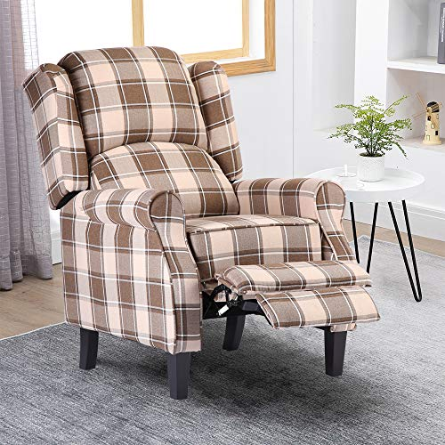 Pushback Recliner Chair for Elderly People, Overstuffed Lounge Couch Single Sofa with Checker Fabric Cover, Accent Upholstered Reclining Armchair for Living Room Recreation Room, Dark Beige
