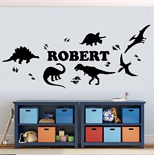 BestPricedDecals Dinosaurs and Dinosaur Tracks/with (Custom Name) Children's Wall Decal (Med. 13' x 28')