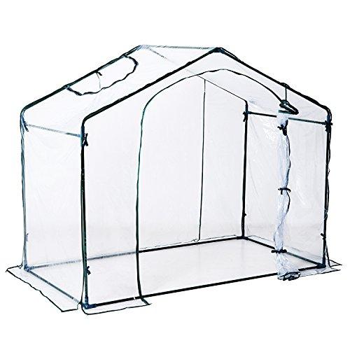 Outsunny Serre de Jardin Balcon terrasse Serre pour tomates 1,8L x 1,05l x 1,65H m Acier PVC imperméable Transparent Vert