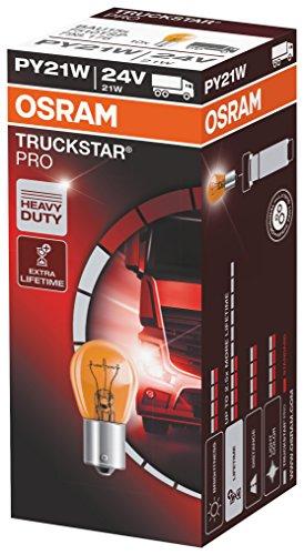 OSRAM TRUCKSTAR PRO PY21W, lámpara de señalización halógena, luz de freno, iluminación adicional trasera, 7510TSP, vehículo industrial de 24 V, estuche (10 unidades)