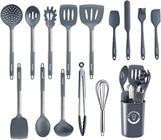 ChefGiant Silicone Kitchen Utensils Set | 15-Piece Stainless Steel Cooking Tool Kit with Holder, Spatula, Ladle, Pasta Ser...