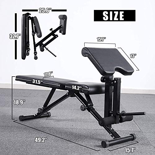 Mikolo Adjustable Weight Bench, Strength Training Foldable Exercise Workout Bench with Preacher Pad, Leg Extension for Home Gym, Full Body Workout - (2021 Upgraded)