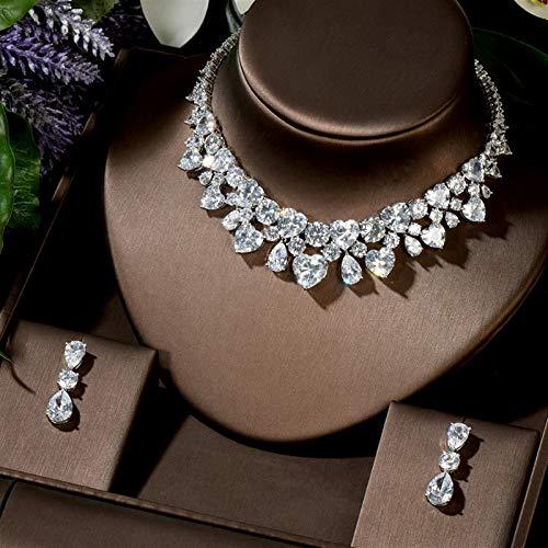 AMINIY Nuevo Accesorios De Vestuario De Bodas Forma De Corazón Zircon Cúbico Crystal Bridal Pendientes De Novia Y Collar Juego De Joyas (Color : White Color)
