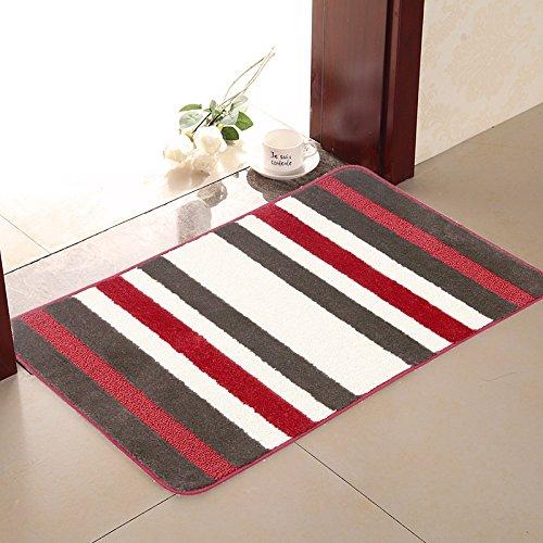 "Pauwer Kitchen Rugs Non Skid Polypropylene Fiber Indoor Kitchen Entry Rug Washable Bath Mats for Floors (28""x18"",Red Strip)"