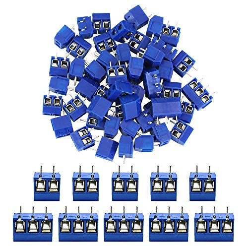 DECARETA 60 PCS 2 Pines(50)/3 Pines(10) Conector Bloque de Terminales de Tornillo de Montaje para Soldar en el Tablero,Conector de Tipo Enchufable para Varios Módulos y Componentes Electrónicos-Azul