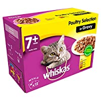 100 Percent complete and balanced meal food pouch for older cats with no artificial flavours, colours or preservatives Whiskas 7+ senior cat food wet pouches contain nutritious and tasty pieces carefully prepared to give cats ages 7 years and older e...