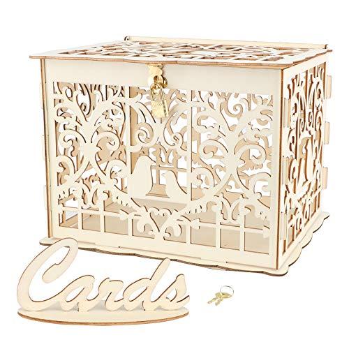 VINFUTUR Caja para Tarjetas de Boda Caja Dinero de Boda Regalos con Encaje Suministros Fiesta 25 * 20 * 18cm