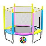 Indoor Trampoline für Kinder, Mini-Trampolin Runde Trampoline mit Einschließung Net- Indoor oder Outdoor-Trampolin, Home Office Cardio Trainer,#2,120cm