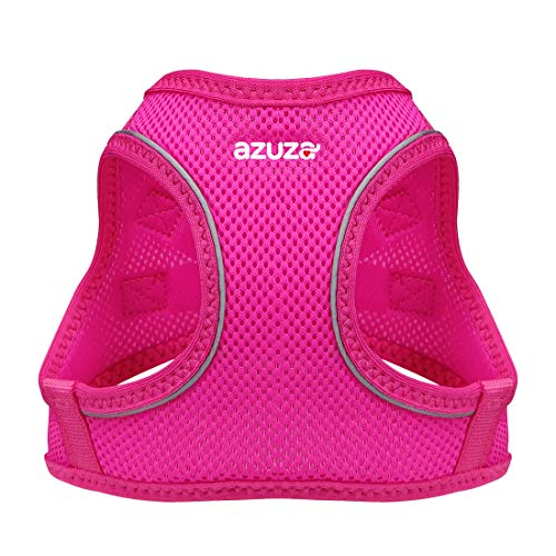 "azuza Dog Harness for Small Dogs, Reflective Air Mesh Dog Vest Harness, All Weather Comfort Puppy Harness for Small Dogs and Toy Breeds, Hot Pink, Chest Girth: 18""-20"""