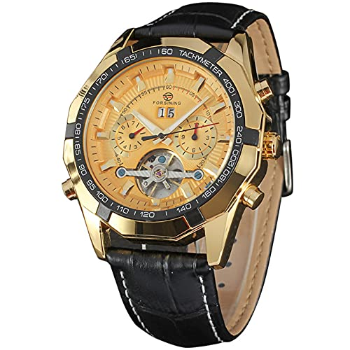 Excellent Relojes para Hombre Correa de Cuero Transpirable mecánico Relojes de Pulsera automática a Prueba de Agua para Hombres Reloj automático de muñequera para Hombre con Manos Luminosas,A05