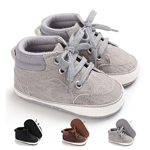 Dukars Baby Boys Girls Soft Sole Moccasins Lace-up Infant Toddler Shoes Sneaker (11cm (0-6months), Canvas - Rose)
