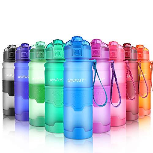Botella de Agua Deporte 500ml/700ml/1l, sin bpa tritan plastico, Reutilizables a Prueba de Fugas Botellas Potable con Filtro para niños, Colegio, Sport, Gimnasio, Trekking, Bicicleta (blue, 500ml)