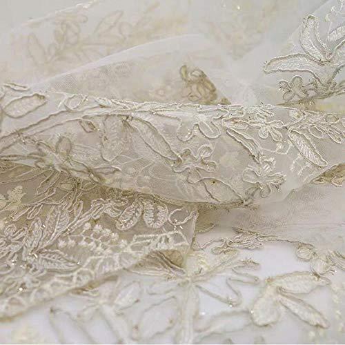 POMU Cortinas de tul bordadas para sala de estar, precio, boda, tul dorado, bordado, gasa blanca, tul, Tul de gasa, 1Piece W300xH260 CM
