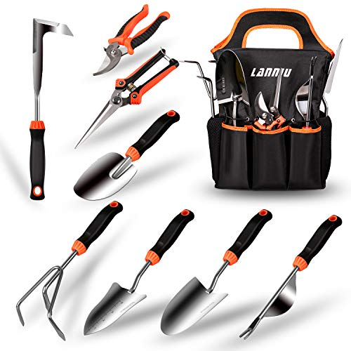 LANNIU Garden Tool Set, 9 Piece Stainless Steel Heavy Duty Gardening Tool Set, with Non-Slip Rubber Grip, Storage Pocket, Ideal Garden Tool Kit Gift for Women/Parent