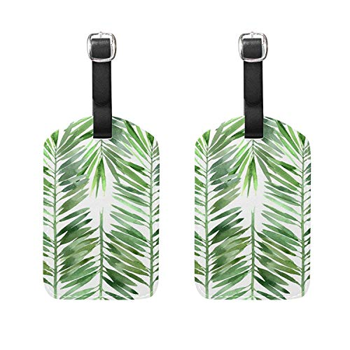 Set of 2 Luggage Tags Watercolor Leaf Suitcase Labels Travel Accessories