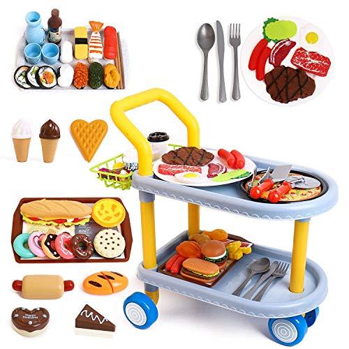 Carrello per Alimenti per Bambino,Giochi di Ruolo per Bambini con Grandi Giocattoli per Auto da Pranzo e 98 Pezzi di Cibo, Cucina, Accessori per la tavola. per Ragazzi / Ragazze dai 3 Anni in su