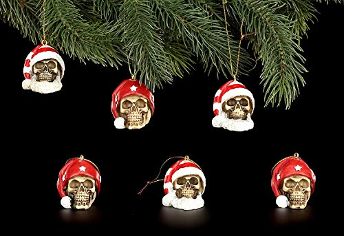 Figuren-Shop.de Christbaum-Schmuck - Weihnachts-Totenköpfe Mix - 6er Set