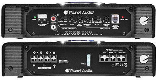 Planet Audio AC1200.2 2 Channel Car Amplifier - 1200 Watts, Full Range, Class A/B, 2-4 Ohm Stable, Mosfet Power Supply, Bridgeable
