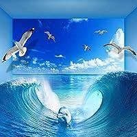 3D壁紙海波青空風景壁画リビングルームテレビソファ寝室の背景壁家の装飾-300x210cm