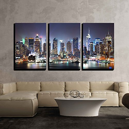 wall26 - 3 Piece Canvas Wall Art - New York City Manhattan Skyline Panorama at Night - Modern Home Decor Stretched and Framed Ready to Hang - 16'x24'x3 Panels
