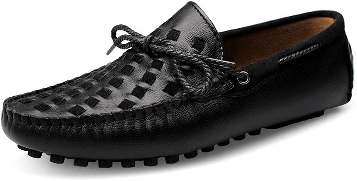 Easy Go Shopping Men Boat Moccasins Slip On Style Cowhide Leather Breathable Hand-woven Upper Bowknotdecor Driving Loafer Cricket shoes (color   Black, Size   8.5 UK)