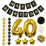 Palloncini, Accessori & Decorazioni Festa di Compleanno Set - Grande Palloncino in Foil Decorazioni Palloncini in Lattice Oro, Bianco & Nero - Decorazione Adatta per Tutti gli Adulti (Age 40)