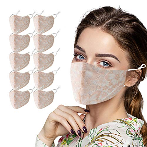 10PCS Women's Reuaable Lace Face_Masks Breathable Lace Face Veil Washable Mouth-Masks for Daily Use Fashion Protective Halloween Carnival Party Night Club (Pink)