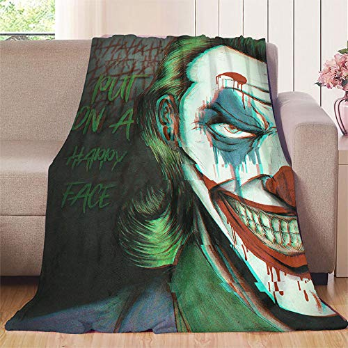 Elliot Dorothy put on happy face joker cine comics art throw blanket 70'x80' Warm Elegant Flannel Blanke