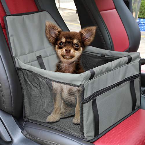 X AUTOHAUX Hunde Autositz für kleine mittlere Hunde,wasserdicht Vordersitz Hundesitz Autositzbezug mit Verstärkte Wände für Haustiere Reise Grau