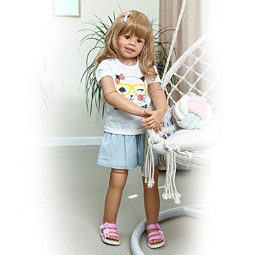 Anano 39 Inch Reborn Toddler Dolls Huge Baby Full Body Hard Vinyl Smile Girl Realistic Baby Toddler Dolls Long Hair Girl