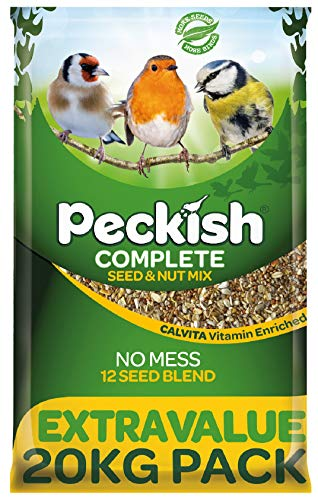 Peckish Complete Seed and Nut No Mess Wild Bird Food Mix, 20 kg