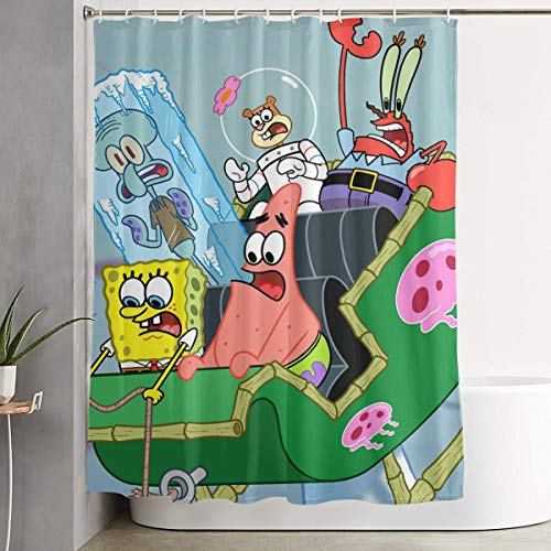 LIUYAN Duschvorhang mit Haken – Spongebob Schwammkopf mit Fre&en Wasserdichter Polyester-Stoff Badezimmer-Dekoration 152,4 x 182,9 cm