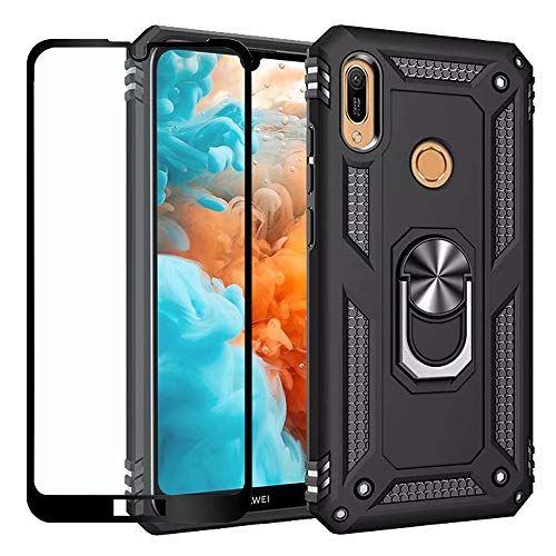 Strug for Huawei Honor 8A/Honor Play 8A/Y6 2019 Case,Heavy Duty Shockproof Protection Built-in 360 Rotatable Ring Magnetic Car Mount Case Cover with Screen Protector for Huawei Y6 2019(Black)