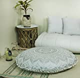 "Popular Handicrafts Mandala Round Hippie Floor Pillow Cover | 100% Cotton Luxury, Artisan Room Décor for Your Living Room, Bedroom | Screen Printed Design 32"", Silver"