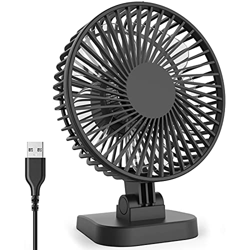 4 Inch Mini USB Desk Fan with 3 Setting, Small Personal Quiet Fan with Strong Airflow & Low Noise,...