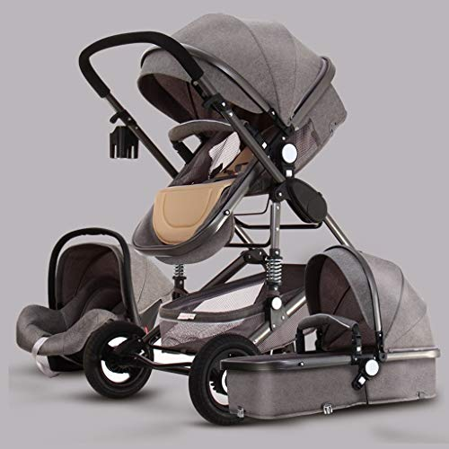 Anti-shock High View Kinderwagen, Paraplu Kinderwagen Opvouwbaar, Compact Convertible Pram Kinderwagen, 3 In 1 Kinderwagen Wandelwagen, Storage Basket, Grote Seat Area (Color : Gray)