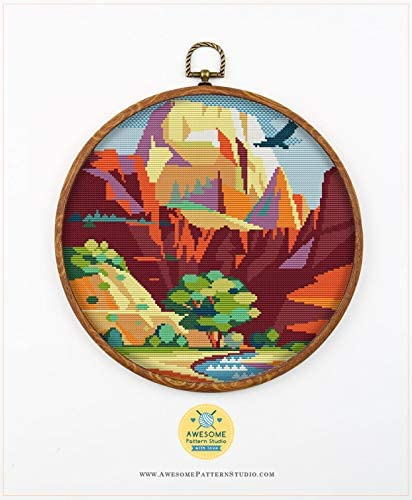 Threads Fabrick and 4 Printed Color Schemes Inside Embroidery Pattern Kit Sequoia National Park K478 Counted Cross Stitch KIT#2 Needles