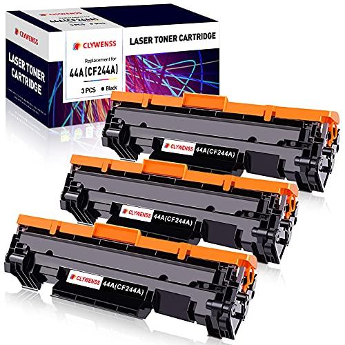 Clywenss 44A Cartuchos de tóner Compatible para HP CF244A 44A para HP Laserjet Pro M15a M15w M16a M16w M15 M16 HP Laserjet Pro MFP M28a M28w M29a M29w M28 M29 Impresora (3 Negro, con Chip)