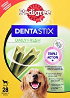 A snack for large adult dogs (25kg+). Each pack holds 28 sticks. The product is a chewy textured treat that is designed to promote oral health & breath-freshening in adult dogs. It is an X-shape, stick-like, extruded product, with a green colour whic...