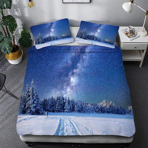 CURTAINSCSR Duvet Cover Single Size Starry Sky Blue Printed Polyester Bedding Set with Zipper Closure Quilt Cover Set+2 Pillowcases Easy Care Anti-Allergic Soft & Smooth Apply to Boy Girl Bedroom