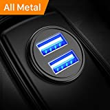 AINOPE Car Charger, 4.8A All Metal Car Charger Adapter Dual USB Port Fast Car Charging Mini Flush Fit...