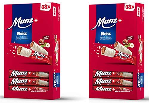 Set 2 x MUNZ Prügeli Weiße Schokolade | Schweizer Schokolade | Branches Classic | 2 x 33 = 66 Praliné Schokoladenriegel | 1,58 kg Großpackung Mix | Maestrani Weiße Prügli | Glutenfrei